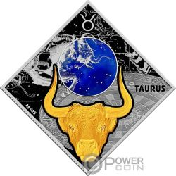 TAURUS Toro Zodiac Signs Moneta Argento 100 Denars Macedonia 2018