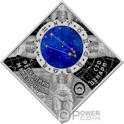 TAURUS Zodiac Signs Серебро Монета 100 Денар Македония 2018