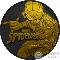 SPIDERMAN Hombre Arana Marvel Rutenio 1 Oz Moneda Plata 1$ Tuvalu 2017