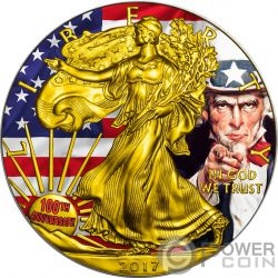 UNCLE SAM 100 Aniversario Tio Want You Walking Liberty 1 Oz Moneda Plata 1$ USA 2017