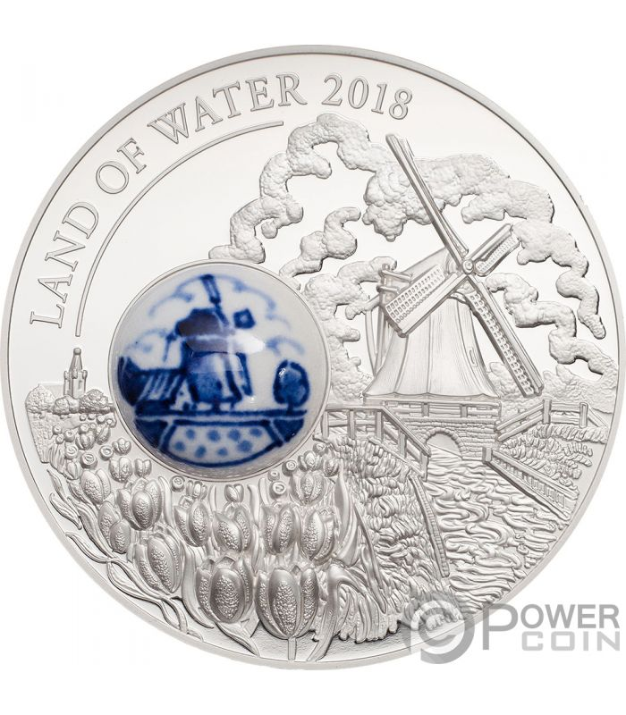 Land Of Water Windmill Royal Delft Silver Coin 10 Cook