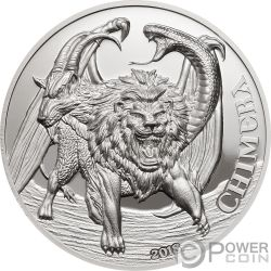 CHIMERA Quimera Mythological Animals 2 Oz Moneda Plata 1500 Shillings Tanzania 2018