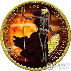SKELETAL BRITANNIA Esqueleto Armageddon 1 Oz Moneda Plata 2£ Pound United Kingdom 2017