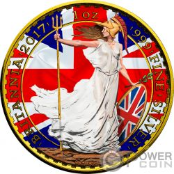 PATRIOTIC FLAG Britannia 1 Oz Silver Coin 2£ Pound United Kingdom 2017