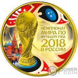 FIFA WORLD CUP Coppa del Mondo 1 Oz Moneta Argento 3 Rubli Russia 2018