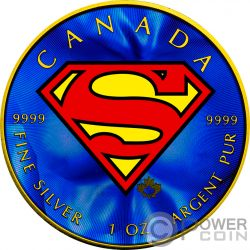 SUPERMAN Foglia Acero Colorata 1 Oz Moneta Argento 5$ Canada 2016