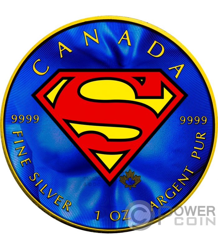 Superman Maple Leaf Colorized 1 Oz Silver Coin 5 Canada