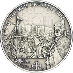 CRUSADE 4 Dandulus Of Venice Silver Coin 5$ Cook Islands 2010