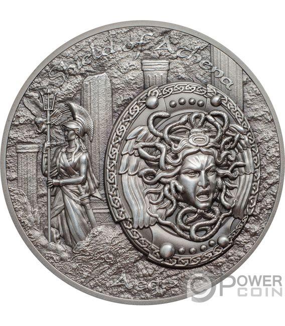 SHIELD OF ATHENA Aegis Mythology 2 Oz Silver Coins 10$ Cook Islands 2018