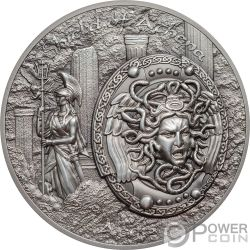 SHIELD OF ATHENA Aegis Mythology 2 Oz Silver Coins 10$ Cook Islands 2018