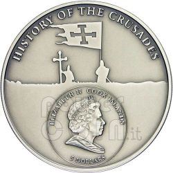 CRUSADE 4 Dandulus Of Venice Silver Coin 5$ Cook Islands 2010