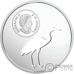 WHOOPING CRANE Schreikranich Endangered Animal Cutout Silber Münze 30$ Canada 2017