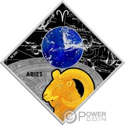 ARIES Ariete Zodiac Signs Moneta Argento 100 Denars Macedonia 2018