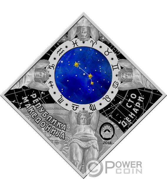 ARIES Ariete Zodiac Signs Moneta Argento 100 Denars Macedonia 2018