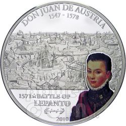 LEPANTO DON JUAN Austria Battaglia Moneta Argento 5$ Cook Islands 2010