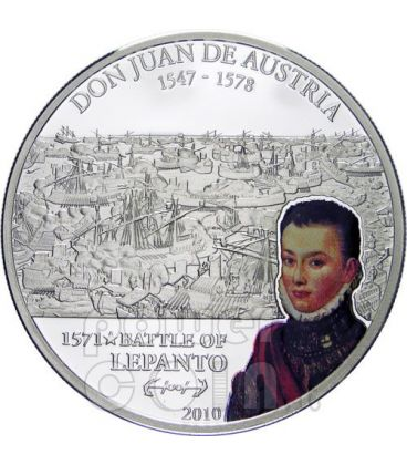 LEPANTO DON JUAN Austria Great Battles Silver Coin 5$ Cook Islands 2010