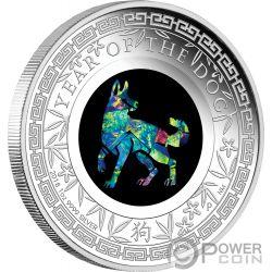 YEAR OF THE DOG Perro Australian Opal 1 Oz Moneda Plata 1$ Australia 2018