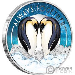 ALWAYS TOGETHER Immer Zusammen Pinguine Silber Münze 50 Cents Tuvalu 2018