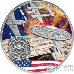 BATTLE OF LOS ANGELES OVNI Batalla 1 Oz Moneda Plata 1000 Francos Burkina Faso 2017