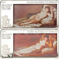 GOYA Maja Vestida Desnuda Moneta Argento 3 Oz 20$ Cook Islands 2010