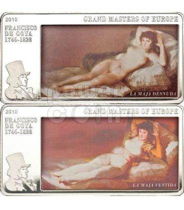 GOYA Maja Vestida Desnuda Moneta Argento 3 Oz 20$ Cook Islands 2010