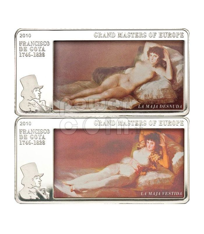 Goya Maja Naked Nude Clothed 3 Oz Silver Coin 20 Cook Islands 2010