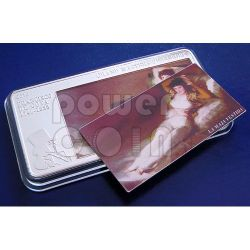 GOYA Maja Naked Nude Clothed 3 Oz Moneda Plata 20$ Cook Islands 2010