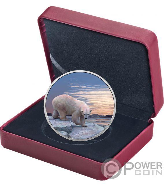 POLAR BEAR Orso Polare Arctic Animals Northern Lights 2 Oz Moneta Argento 30$ Canada 2018