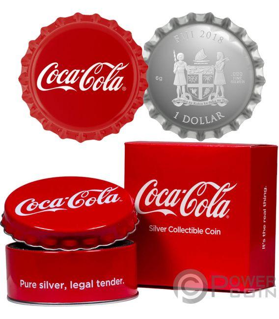 COCA COLA Bottle Cap Shape Silver Coin 1$ Fiji 2018