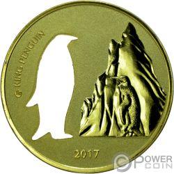 KING PENGUIN Cutout Silouette 1 Oz Silver Coin 5 Cedis Ghana 2017