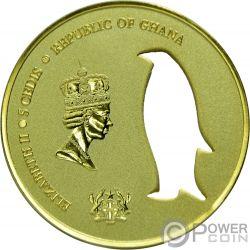 KING PENGUIN Pinguino Real Cutout Silouette 1 Oz Moneda Plata 5 Cedis Ghana 2017