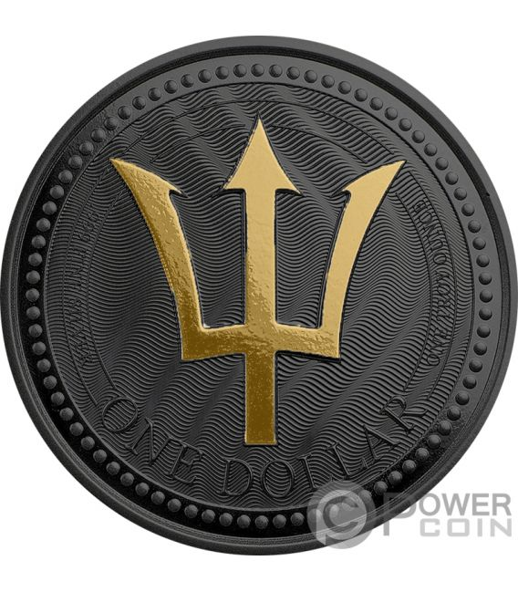 TRIDENT Tridente Golden Enigma 1 Oz Moneda Plata 1$ Barbados 2017