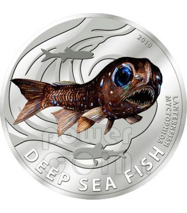 LANTERN FISH Deep Sea Silver Coin 2$ Pitcairn Islands 2010