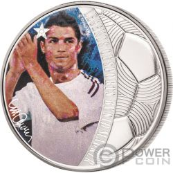 CRISTIANO RONALDO Legends of Sports Sid Maurer 1 Oz Moneta Argento 5$ Solomon Islands 2018