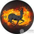 KRUGERRAND Burning Rutenio 1 Oz Moneta Argento 1 Rand South Africa 2017