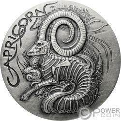 CAPRICORN Capricorno Memento Mori Zodiac Skull Horoscope Moneta Argento 2015