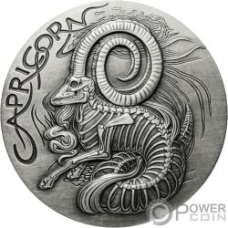 CAPRICORN Memento Mori Zodiac Skull Horoscope Silver Coin 2015