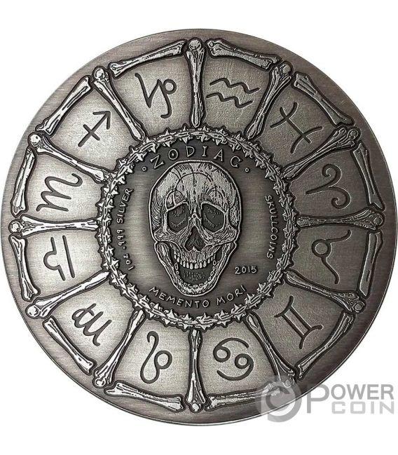 CAPRICORN Steinbock Memento Mori Zodiac Skull Horoscope Silber Münze 2015