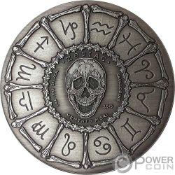 CAPRICORN Memento Mori Zodiac Skull Horoscope Серебро Монета 2015