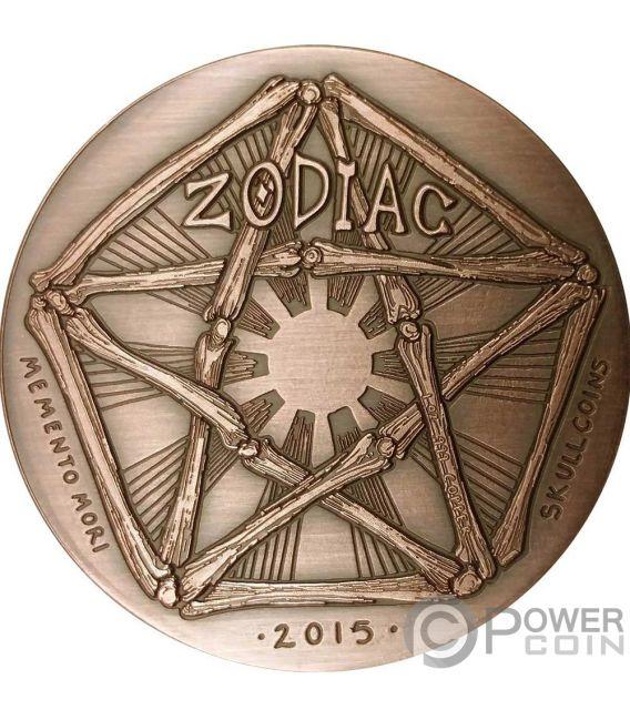CAPRICORN Steinbock Memento Mori Zodiac Skull Horoscope Copper Münze 2015