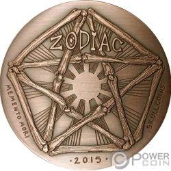 CAPRICORN Memento Mori Zodiac Skull Horoscope Copper Coin 2015