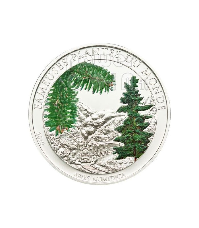 Christmas tree famous plants smelling coin 100 francs benin 2010