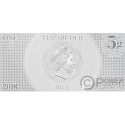 LUKE SKYWALKER Krieg der Sterne Neue Hoffnung Folie Silber Note 1$ Niue 2018