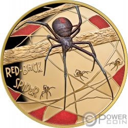 REDBACK SPIDER Ragno Deadly Dangerous 1 Oz Moneta Oro 100$ Niue 2018