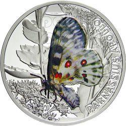 APOLLO Farfalla Parnassius Moneta Argento Butterfly 1$ Niue 2010