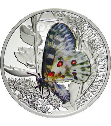 APOLLO Butterfly Parnassius Silver Proof Coin 1$ Niue 2010