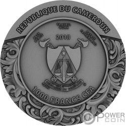 CARVED SKULL II Calavera Luis Gonzaga Bones 1 Oz Moneda Plata 1000 Francos Cameroon 2018