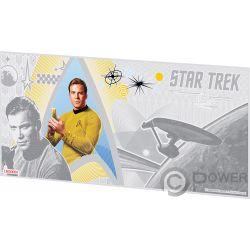 CAPTAIN JAMES KIRK Kapitän Star Trek Original Series Foil Silber Note 1$ Niue 2018