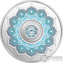 MARCH Birthstone Swarovski Crystal Silver Coin 5$ Canada 2018