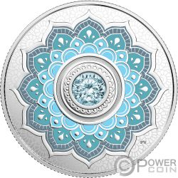 MARCH Marzo Birthstone Swarovski Crystal Moneda Plata 5$ Canada 2018